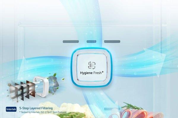 Không khí bên trong tủ lạnh LG trong sạch nhờ vào công nghệ Hygiene Fresh+