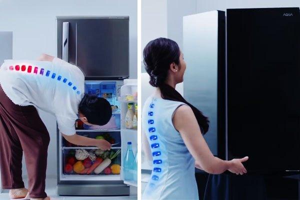 Thiết kế nhân bản của tủ lạnh Aqua giúp bảo vệ tối ưu cột sống của người tiêu dùng