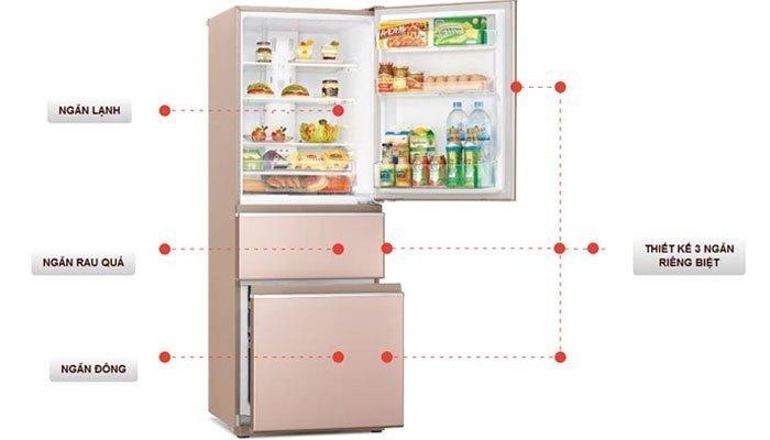 Với dung tích lên đến 326 lít, tủ lạnh Mitsubishi Electric MR-CX41EJ được trang bị nhiều ngăn kệ