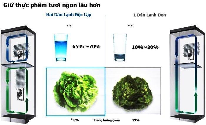 Thực phẩm cũng sẽ bảo quản tươi ngon hơn trong tủ lạnh có 2 dàn lạnh độc lập