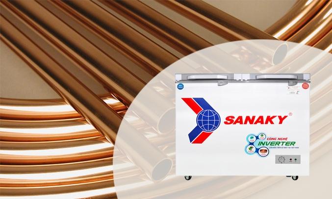 Tủ đông Sanaky Inverter 220 lít VH-2899W4K - Dàn lạnh bằng đồng nguyễn chất
