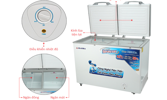 Tủ đông Alaska FCA-4600CI trang bị bảng điều khiển nhiệt độ