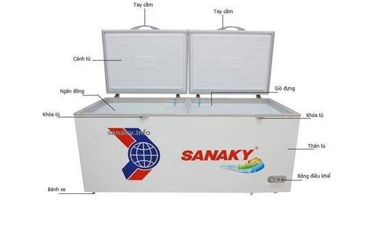 Tủ đông Sanaky VH-8699HY bánh xe di chuyển tiện lợi