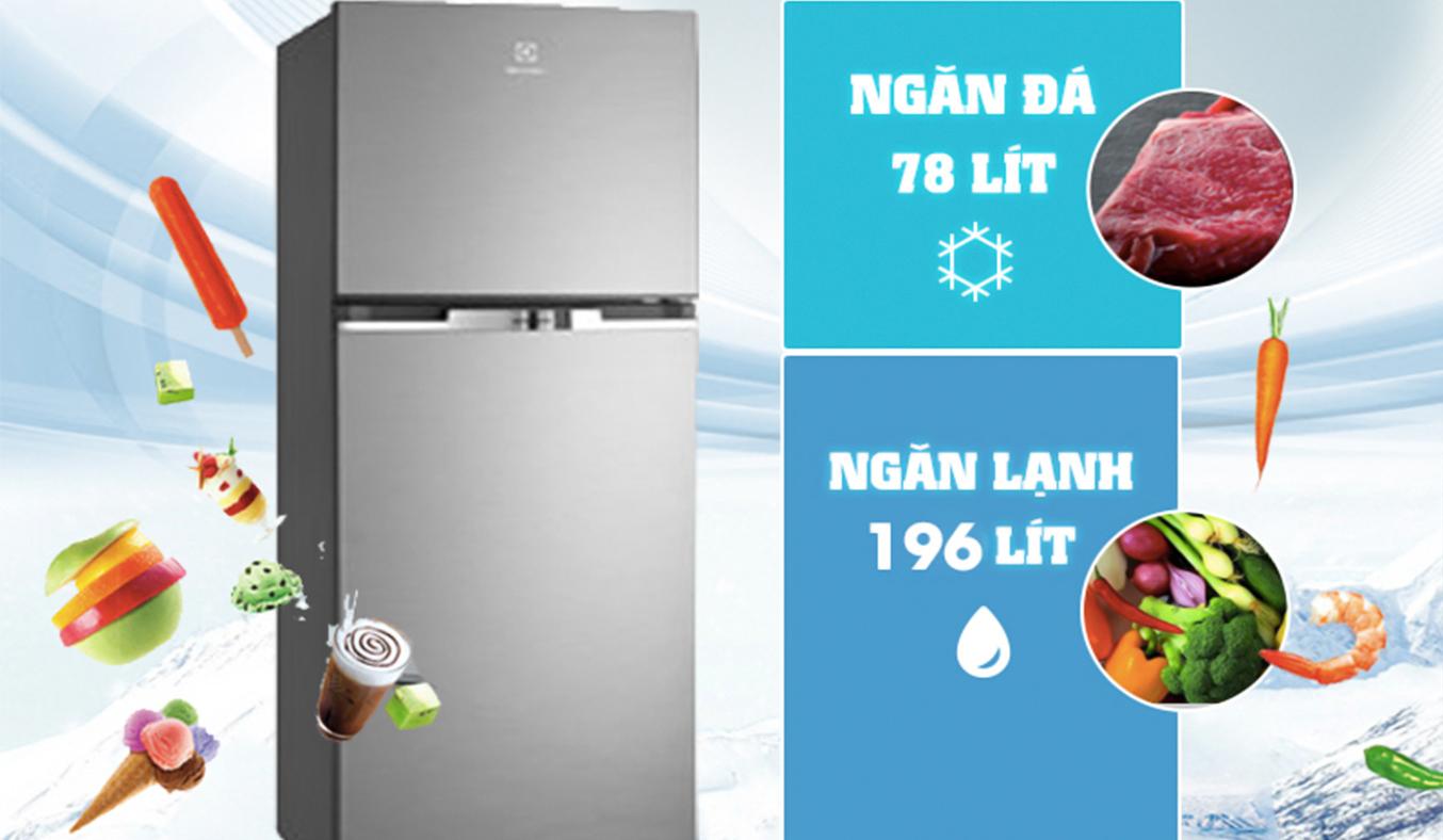Tủ lạnh Electrolux ETB2600MG dung tích lớn