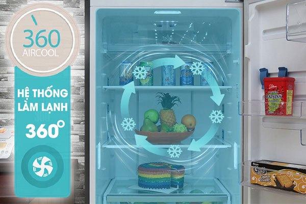 Tủ lạnh Electrolux ETE3500AG 350 lít với hệ thông làm lạnh đa chiều 360 độ giúp thực phẩm được làm lạnh nhanh và đều hơn