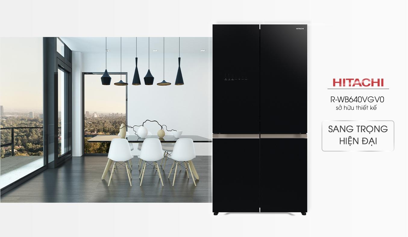 Tủ lạnh Hitachi Inverter 569 lít R-WB640VGV0 (GBK) thiết kế thanh lịch, sang trọng