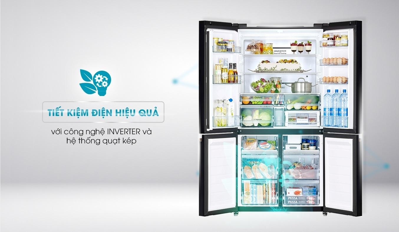 Tủ lạnh Hitachi Inverter 569 lít R-WB640VGV0 (GBK) tiết kiệm điện hiệu quả