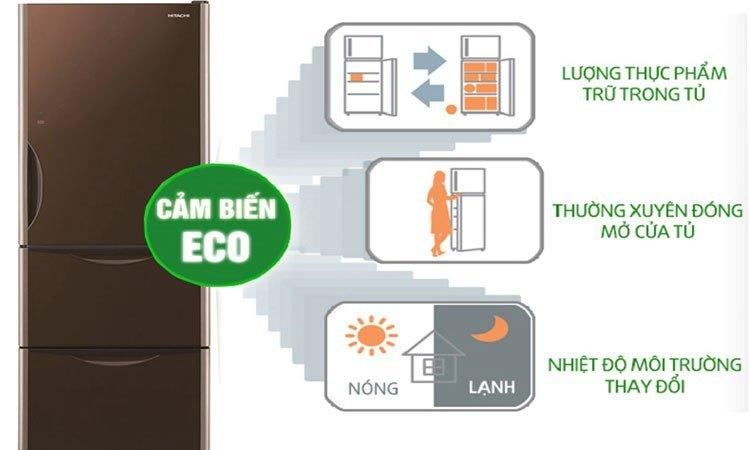 Tủ lạnh Hitachi 375L R-SG38FPGV (GBK) công nghệ cảm biến Eco tiết kiệm điện (ảnh minh họa)