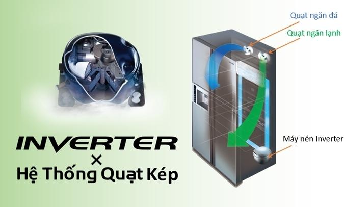 Tủ lạnh Hitachi Inverter 349 lít R-FVY480PGV0 (GBK) - Hệ thống làm lạnh kép