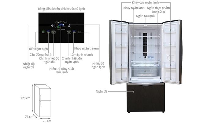 Tủ lạnh Hitachi R-WB545PGV2 455 lít nâu thiết kế hiện đại