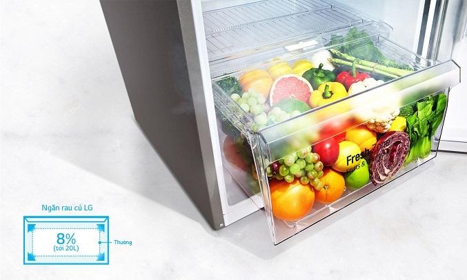 Tủ Lạnh LG Inverter 613 lít GR-B247JDS - Tủ lạnh LG trang bị ngăn rau quả rộng