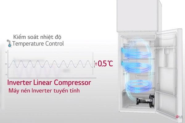 Thực phẩm được lưu trữ tươi ngon nhờ khả năng kiểm soát nhiệt độ hiện đại của tủ lạnh Linear Inverter