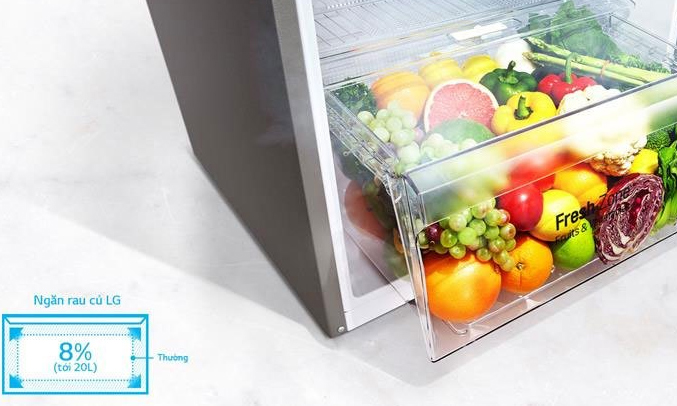 Ngăn rau quả rộng rãi, cung cấp độ ẩm tốt bảo quản rau quả xanh tươi mọng nước