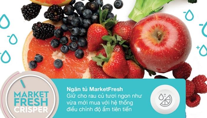 Rau, củ, quả luôn tươi ngon và sử dụng được trong nhiều ngày liền với ngăn MarketFresh hiện đại của tủ lạnh Electrolux EBB2600MG