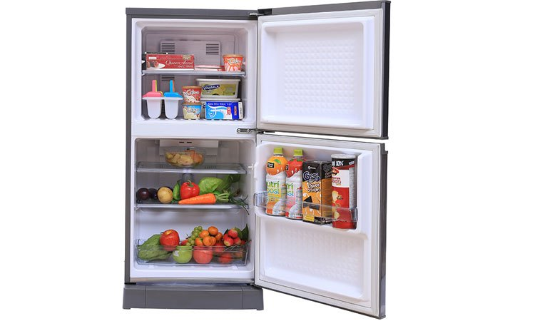 Tủ lạnh Panasonic 135 Lít NR-BJ158SSV1 khay kệ bền bỉ, linh hoạt