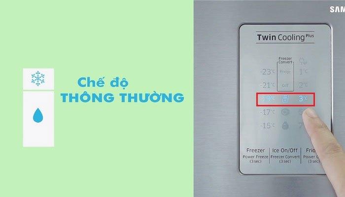 Chế độ thông thường sẽ giúp bạn sử dụng tối ưu cùng lúc cả ngăn đông và ngăn mát trên tủ lạnh Samsung