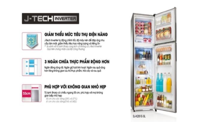 Tủ lạnh Sharp Inverter 253 lít SJ-X281E-SL Thiết kế nâng cao hiệu quả lưu trữ thực phẩm