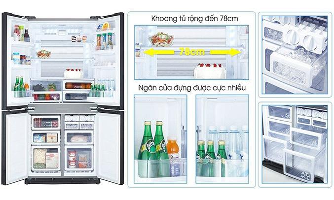 Tủ lạnh Sharp Inverter 678 lít SJ-FX688VG-BK dung tích lớn