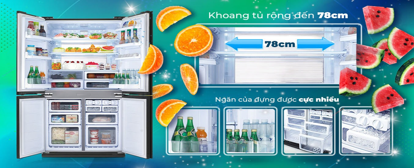 Tủ lạnh Sharp Inverter 678 lít SJ-FX688VG-BK nhiều ngăn chứa