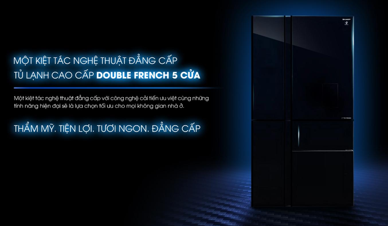 Tủ lạnh Sharp SJ-F5X75VGW-BK sang trọng, đẳng cấp