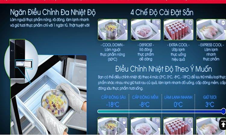 Tủ lạnh Sharp 758 lít SJ-F5X75VGW-BK ngăn điều chỉnh đa nhiệt độ tiện lợi