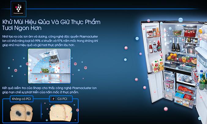 Tủ lạnh Sharp SJ-F5X75VGW-BK khử mùi diệt khuẩn