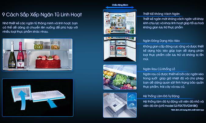 Tủ lạnh Sharp SJ-F5X75VGW-BK khay kính linh hoạt
