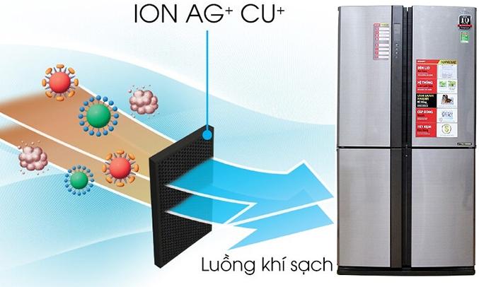 Tủ lạnh Sharp SJ-FX680V 605 lít tạo luồng khí sạch