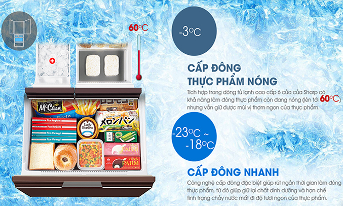 Tủ lạnh Sharp SJ-GF60A 470 lít cấp đông nhanh