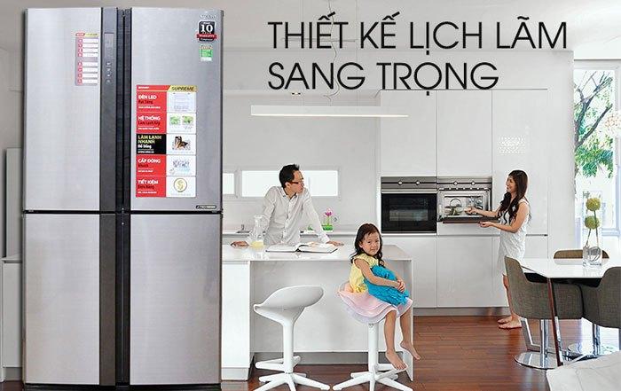 Thiết kế tinh tế và màu sắc hiện đại đã tạo nên sự khác biệt cho tủ lạnh Sharp