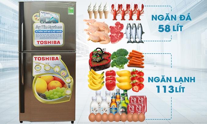 tủ lạnh Toshiba GR-S19VPP có dung tích lớn 171 lít