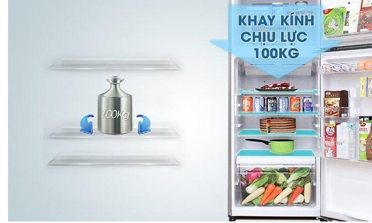 Tủ lạnh Toshiba GR-M25VUBZ(UB) 186 lít xanh đen khay kính chịu lực bền bỉ