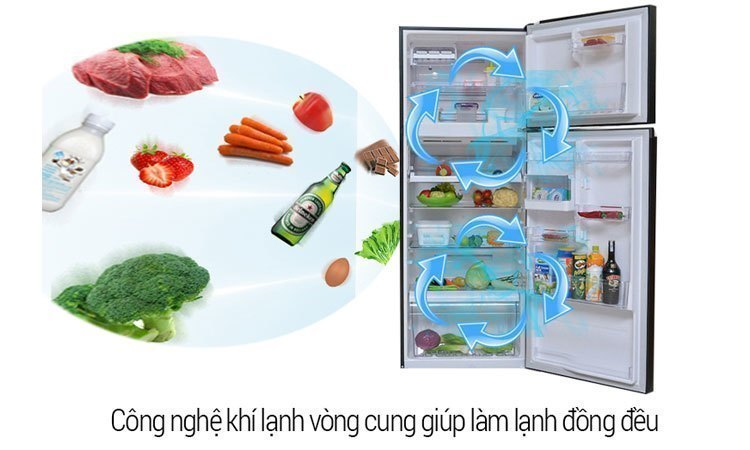 Tủ lạnh Toshiba GR-M25VUBZ(UK) 186 lít màu đen làm lạnh nhanh khắp các ngăn tủ