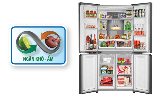 Tủ lạnh Aqua AQR-IG595AM (SG) sang trọng