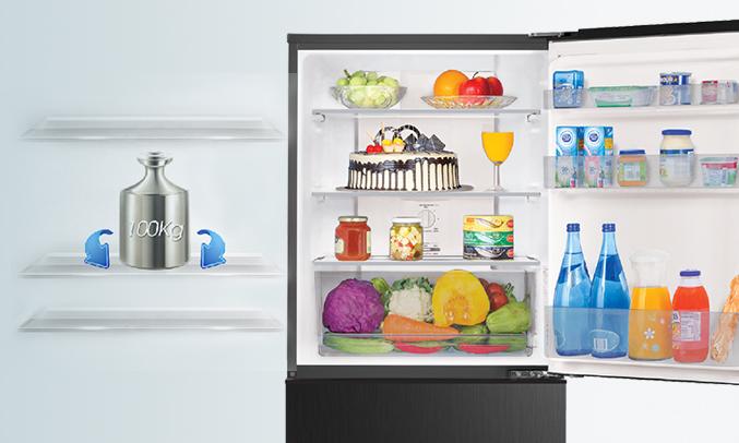 Tủ lạnh Aqua AQR-IP290DB (BL)có khay kính được thiết kế cứng cáp
