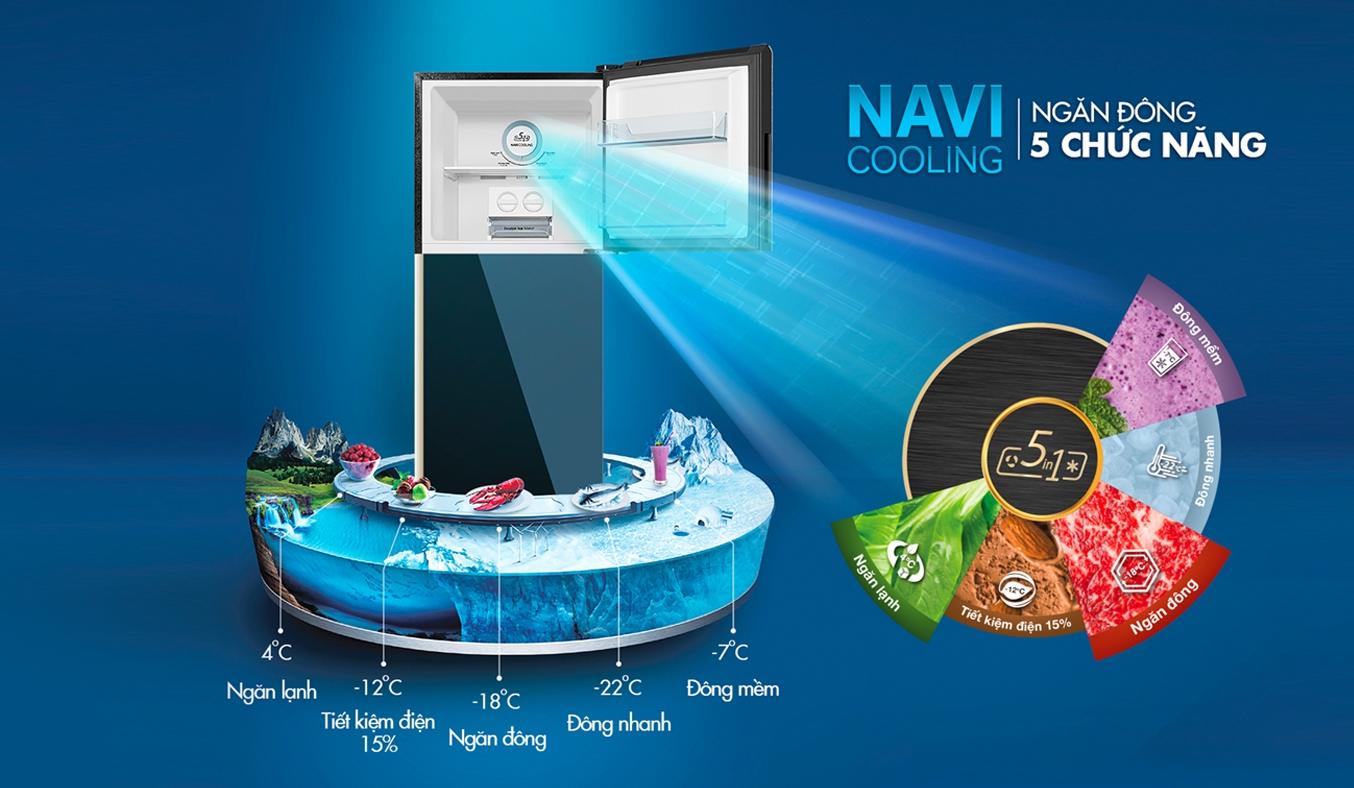 Tủ lạnh Aqua Inverter 235 lít AQR-IG248EN (GB) - ngăn đôngNavi Cooling