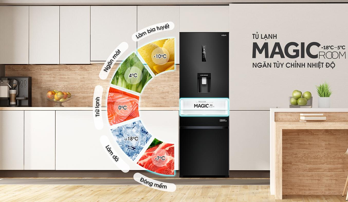 Tủ lạnh Aqua Inverter 317 lít AQR-IW338EB (BS) tủ lạnh magic Room 5 trong 1