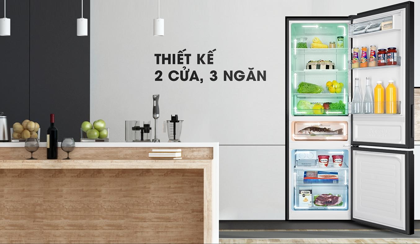 Tủ lạnh Aqua Inverter 317 lít AQR-IW338EB (BS) thiết kế 2 cửa 3 ngăn