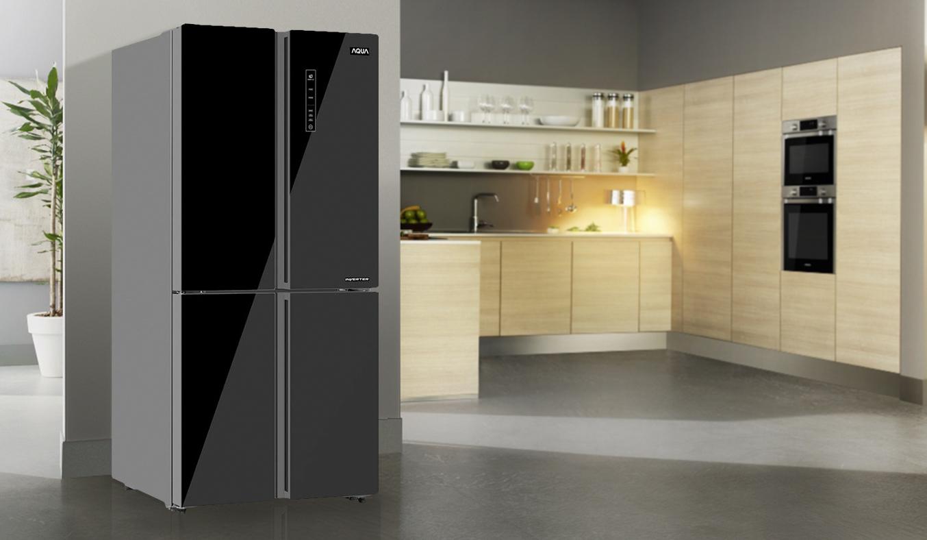 Tủ lạnh Aqua 456 lít AQR-IG525AM đen bán trả góp 0% tại Nguyễn Kim