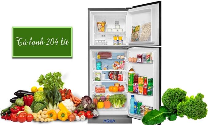 Tủ lạnh Aqua AQR-I226BN 204 lít dung tích lớn