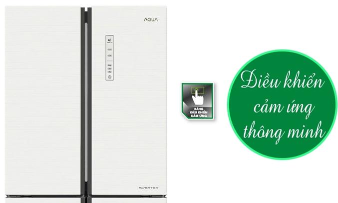 Tủ lạnh Aqua AQR-IG525AM456 lít trắng có thiết kế bảng điều khiển cảm ứng