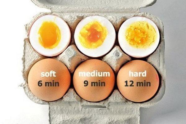 Nếu bạn muốn thưởng thức trứng chín lòng đào vừa phải thì nên luộc trong vòng 9 phút và 12 phút dành cho trứng chín vừa tới.