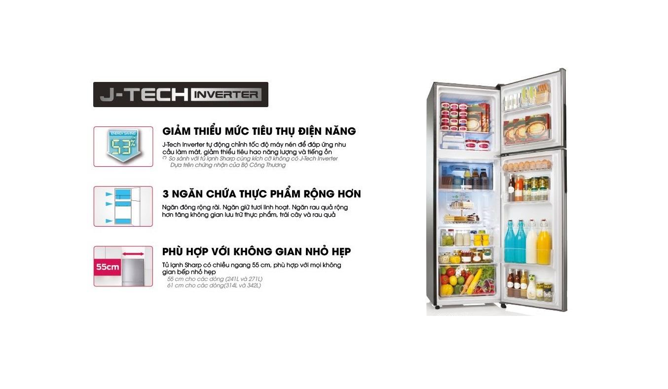Tủ lạnh Sharp Inverter 315 lít SJ-X346E-SL - Công nghệ Inverter
