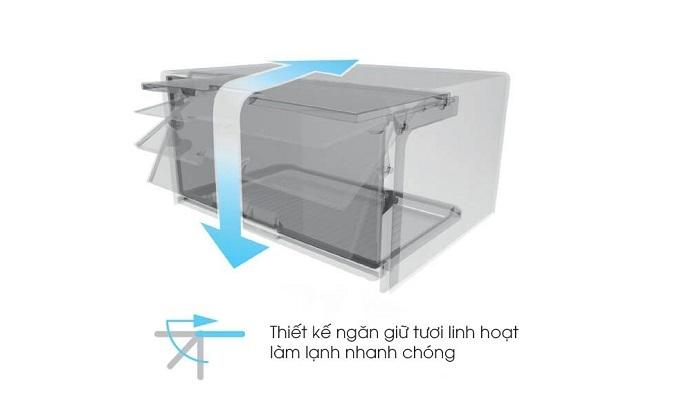 Tủ lạnh Sharp Inverter 315 lít SJ-X346E-SL - Ngăn giữ tươi linh hoạt