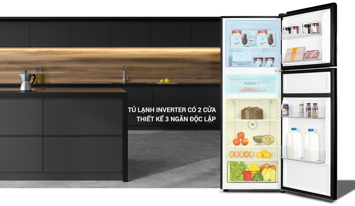 Tủ lạnh AQUA Inverter 312 lít AQR-T359MA(GB) 2 cửa thiết kế 3 ngăn độc lập
