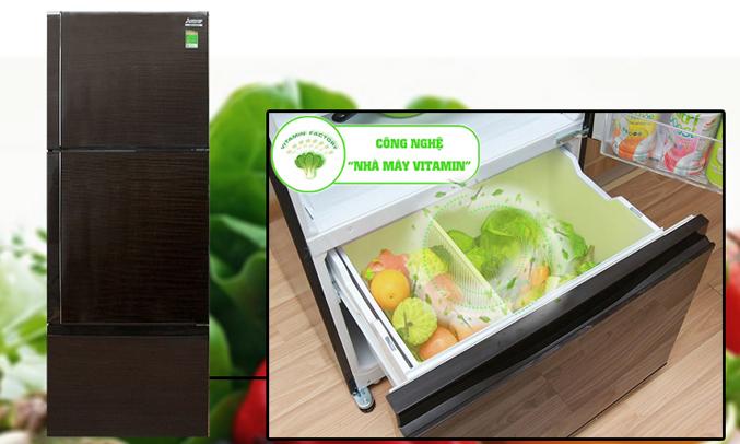 Tủ lạnh Mitsubishi Electric MR-V50EH 414 lít đã trang bị cho ngăn rau quả đèn LED