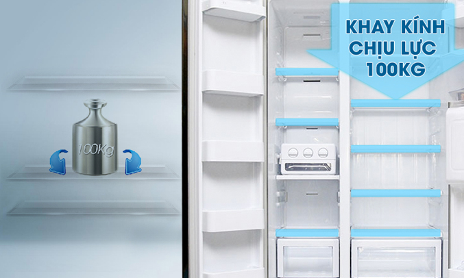tủ lạnh Samsung RSA1WTSL1 520 lít có khá nhiều khay kệ nhưng vẫn được bố trí rất hợp lý