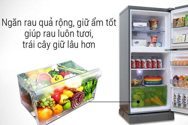 Ngăn rau quả riêng biệt giúp bảo quản hiệu quả hơn, tiết kiệm được thời gian đi chợ cho các bà nội trợ
