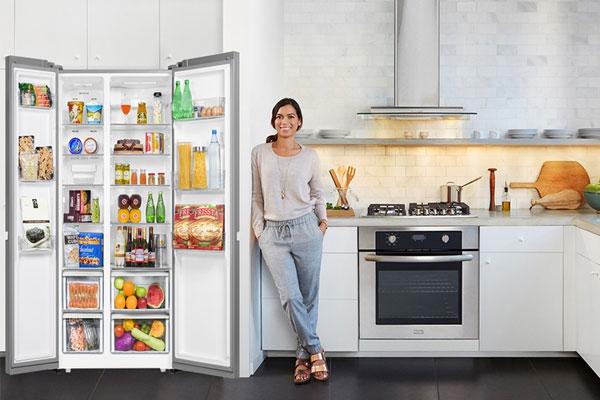 Tủ lạnh Side by Side Aqua có ngăn chứa thực phẩm khô và ẩm riêng biệt