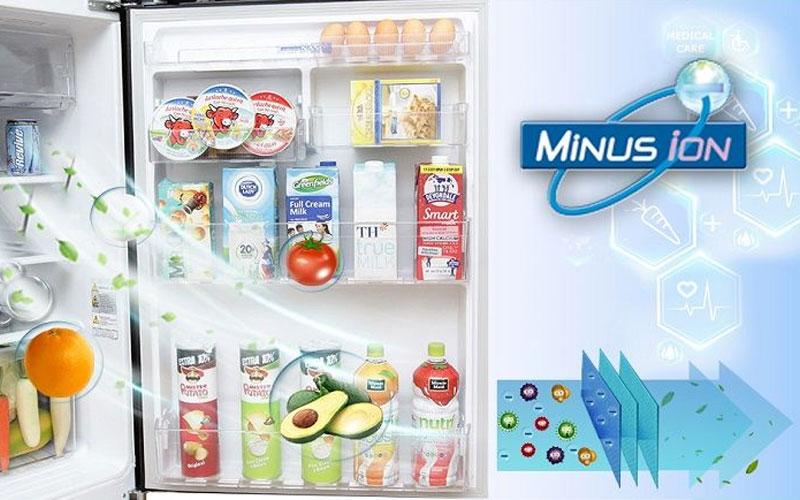 Tủ lạnh Mitsubishi sở hữu công nghệ Minus Ion với bộ lọc Carbon cùng luồng khí chứa Ion âm, mang đến sự sạch khuẩn tối ưu